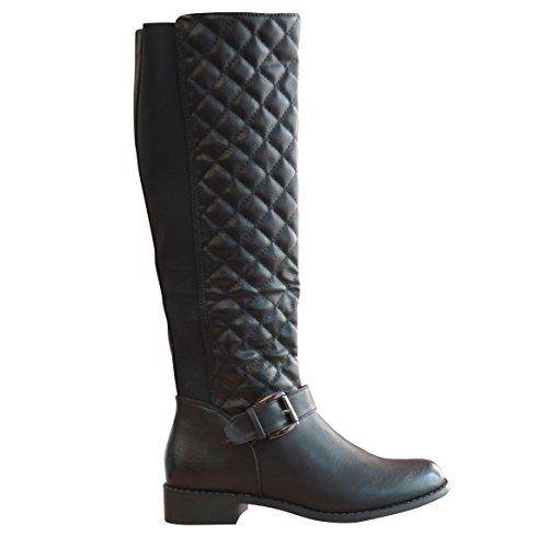 Misteeq F37 Bottes d'équitation en vachette pour femme Mollet matelassé Noir