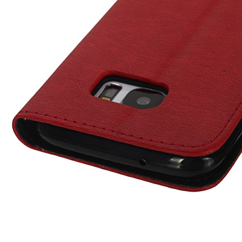 Felfy Coque Etui pour Samsung Galaxy S7,Galaxy S7 Coque Dragonne Portefeuille PU Cuir Etui,Galaxy S7 Etui Cuir Folio Housse Brun Tournesol 3D en Relief Motif Leather Case Wallet Flip Protective Cover  Rouge + Noir