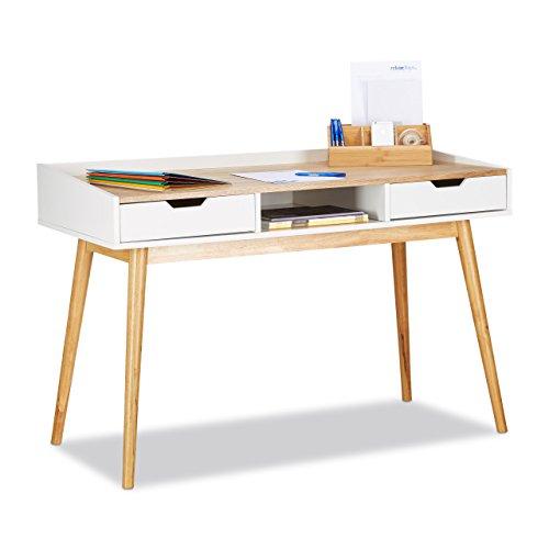 Relaxdays Schreibtisch, skandinavisches Design, 2 Schubladen, Bürotisch HxBxT: ca. 76 x 120 x 55