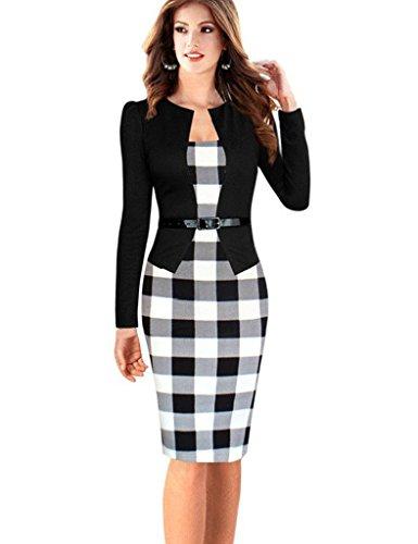 Minetom Damen Hahnentritt Elegant Kleider Business Kleider Abendkleid Etuikleid Casual Knielang Party Dress mit Gürtel