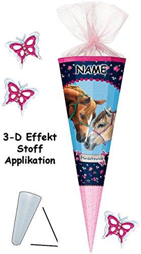 alles-meine.de GmbH mit 3-D Effekt - Schmetterlinge ! - Schultüte -  Pferdefreunde - Pferde  - 85 cm - 12 eckig - incl. Name - Organza Abschluß - Zuckertüte - Nestler - mit / o.. -