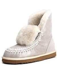 Shenduo - Bottes fourrées de mouton femme, Boots de neige cuir souple doublure chaude de lain D5075