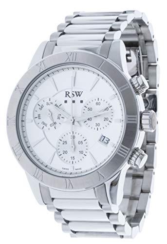 RSW RSWC100 - Orologio cronografo da uomo, al quarzo, analogico, in acciaio...