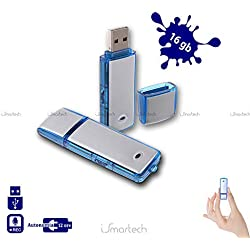 Pen Drive USB-Speicherstick, 16 GB, Mini Audio, Diktiergerät Flash, Mikro-Spion, Wanze.