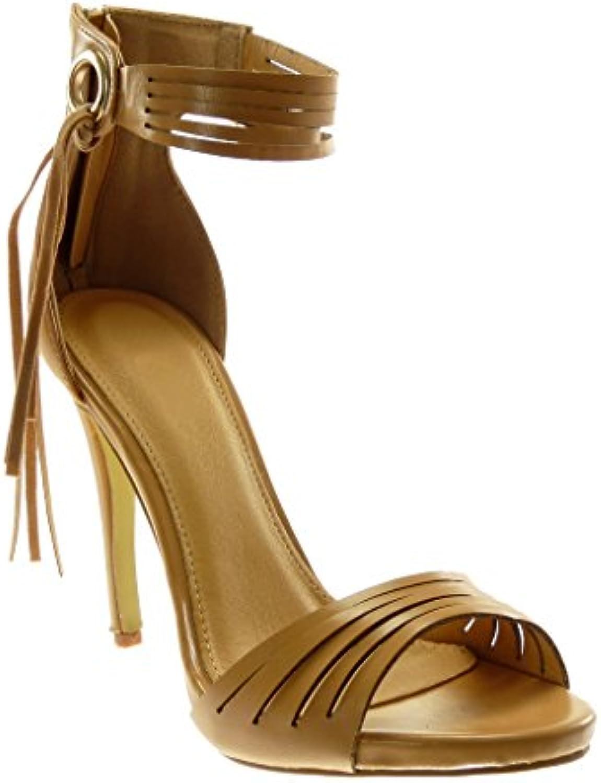 5299ed5f9f53 Angkorly Women s Fringe Fashion Shoes Sandals Multi Pump Court Shoes  Angkorly - Stiletto - Ankle Strap - High - Fringe - Multi Straps.