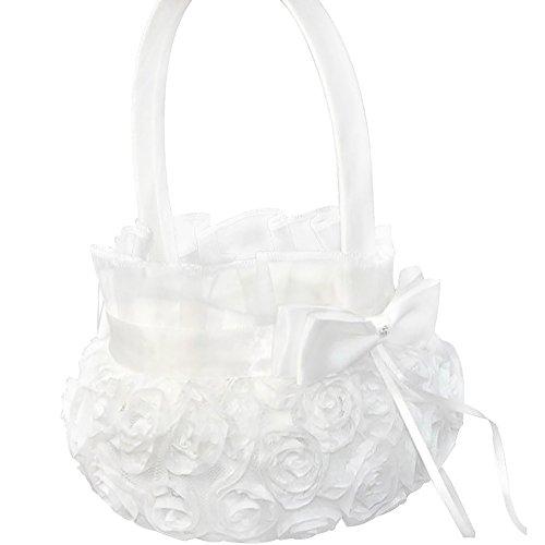 iShine Canasta de Boda Blanco Saten Cesta Ni?a de las Flores para Boda
