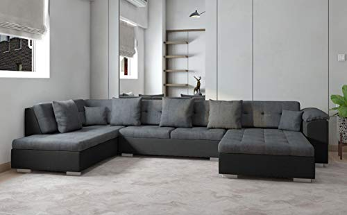 tendencio - Sofá de Esquina panorámico Atrium en U, 6 a 7 plazas, Color Gris y Negro