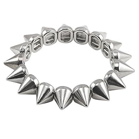 TRIXES Punk Studs Long Spike Stretch Bracelet Silver