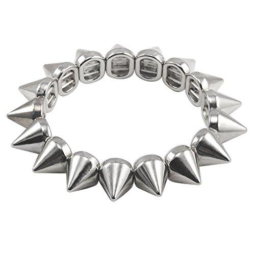 trixes-punk-studs-long-spike-stretch-bracelet-silver