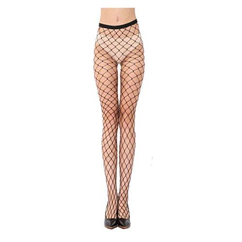 Ularma Fashion Tights Damen Schwarz Mesh Fischnetz Strumpfhose High Waist Spitze Strümpfe (A) (Fischnetz-damen Strumpfhose)