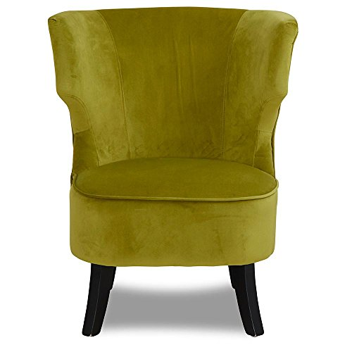 Sessel grün Stoff Samt Velours Holz Holzfuß schwarz Ohrensessel Fernsehsessel - Costa