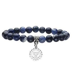 JOVIVI Schmuck,Sodalith Stein Armband Vishuddha Symbol Anhänger Balance Armreif Energietherapie Yoga-Armband