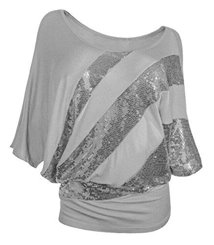 Smile YKK T-shirt Paillette Femme Top Manche Courte Chemise Blouse Eté Col Rond Soirée Casual Gris