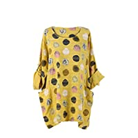 LushStyleUK New Ladies Italian Multicolor Polka Dot Cotton Top Women Lagenlook Top Plus Size