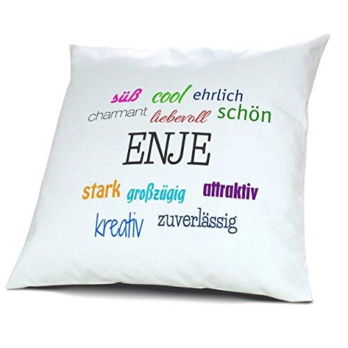 Kopfkissen mit Namen Enje - Motiv Positive Eigenschaften, 40 cm, 100% Baumwolle, Kuschelkissen, Liebeskissen, Namenskissen, Geschenkidee, Deko