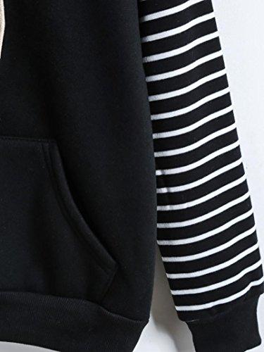 Amlaiworld mode Stripe Flickwerk dick pulli Langarmshirts damen Niedlich sport Sweatshirt Winter Herbst Kapuzenpullover mit Tasche Schwarz