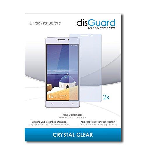 disGuard® Bildschirmschutzfolie [Crystal Clear] kompatibel mit Gionee Marathon M4 [2 Stück] Kristallklar, Transparent, Unsichtbar, Extrem Kratzfest, Anti-Fingerabdruck - Panzerglas Folie, Schutzfolie