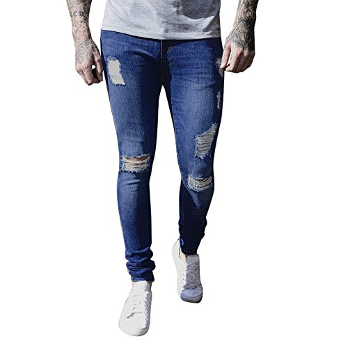 OSYARD Herren Blau Schwarz Jeans Hose Stretch Destroyed Jeanshosen Regular Slim, Stonewashed Ripped Skinny Biker Jeans für Destroyed Taped Denim Hosen (S, Dunkelblau)