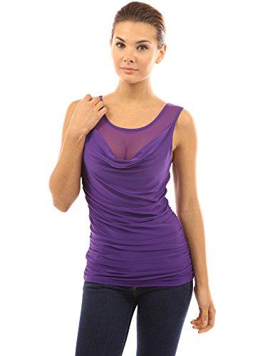 PattyBoutik Damen ärmellose Bluse Wasserfallausschnitt mit Mesh Einsatz Violett