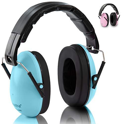 NENI Kinder Gehörschutz in Blau oder Pink - Premium Kapselgehörschutz von 1 bis 16 Jahre - mitwachsende und verstellbare Ohrenschützer inkl. Reinigungstuch -