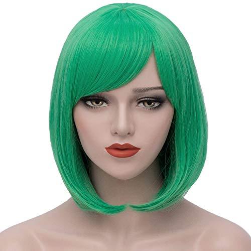Milrüme Grün Kurze Bob Haar Perücken Gerade mit Flach Pony Synthetische Bunte Cosplay Tägliche Party Perücke für Frauen Natürliche Wie Echthaar 12 Zoll 003K