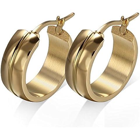 MG alianza de acero inoxidable aro pendiente para el dorado-tono extra anchos para hombre para mujer, 20 * 7 millimeter