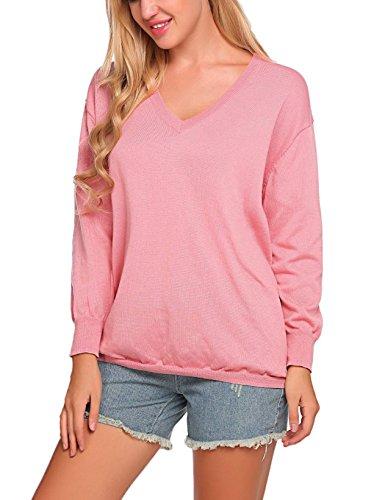 Chigant Damen Basic-Pullover Langarmshirt Sweatshirt mit V-Ausschnitt aus Feinstrick Pink