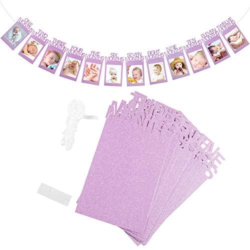 ZOEON 1-12 Monate Geburtstag Foto Banner für Baby 1. Geburtstag Dekorationen, Geburtstagsparty Dekorzubehör (Pink Glitter Paper)