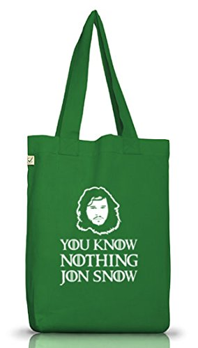 Shirtstreet24, You Know Nothing, Jutebeutel Stoff Tasche Earth Positive (ONE SIZE) Moss Green