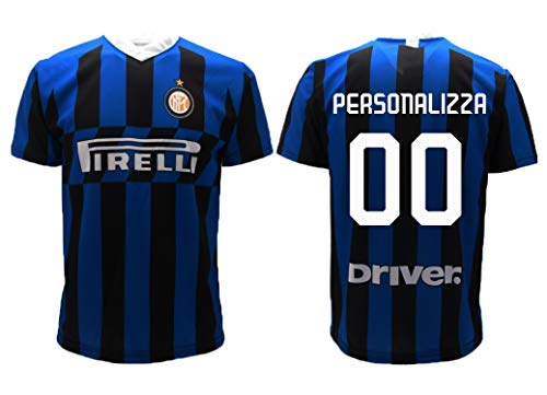 Inter maglia home replica ufficiale autorizzata 2019 2020 personalizzata con nome e numero personalizzabile (l adulto)