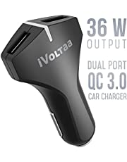 iVoltaa QC 3.0 Dual Port 36 W Turbo Car Charger with Micro USB Cable - (Black)