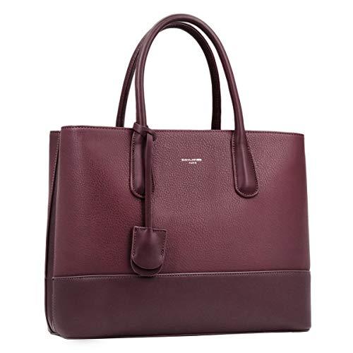 David Jones - Bolso de Mano Grande Mujer - Shopper Tote Bag Señora Trabajo Negocios Cuero Genuino...
