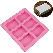 Allforhome (TM) 6 cavidad llanura rectángulo básica jabón DIY molde de silicona molde para Casera Artesanía