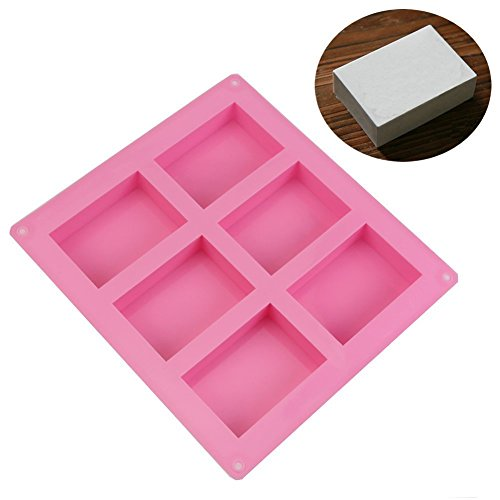 Allforhome (TM) 6 cavity Plain Basic Rectangle Soap DIY Mold Silicone Mould for Homemade Craft