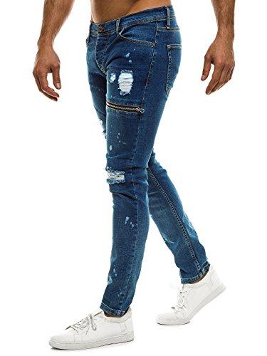 OZONEE Pantaloni Uomo Jeans Pantaloni Casual Casual Vintage Annacquato Jeans OTANTIK 538S Blu