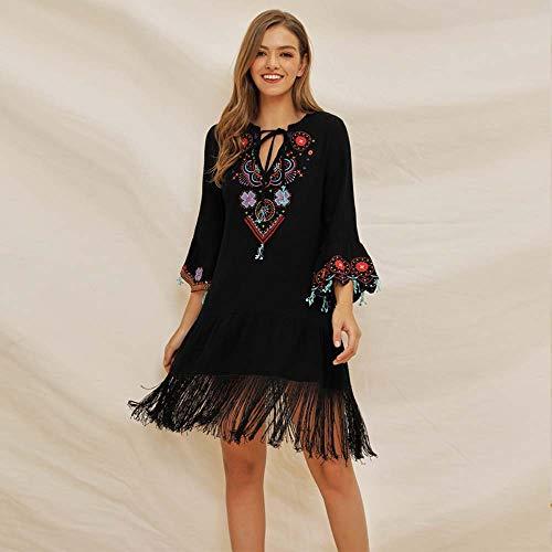 Frauenkleid National gestickte böhmische Kleid Fransen Nähte Baumwolle Frühling und Sommer Sieben-Punkt-Ärmel schwarz V-Ausschnitt Krawatte Trompete Ärmel (Size : M)