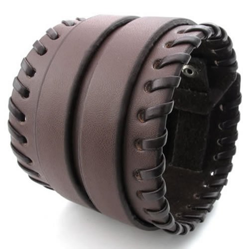 KONOV Herren Damen Leder Armband, Breit Armreif, Fit 16,5-19,1cm, braun