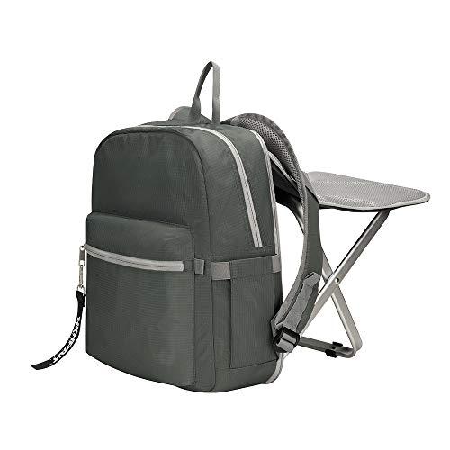 BigTron Rucksack Stuhl, Ultraleicht Angelrucksack mit Stuhl/Klappstuhl mit Rucksack für Camping, Wandern (Grau) -