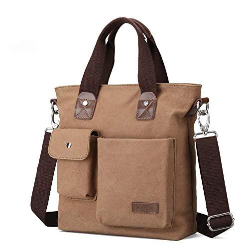 Wovemster Bolso para hombre, maletín de lona de ocio para negocios Bolso inclinado de un solo hombro, café más ligero, 28 x 18 x 31 cm (BXHXT)