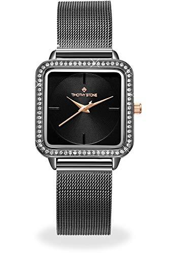 Damen Schwarz und Gelb Square Uhren für Damen mit Swarovski-Kristallen und Mesh-Armbänder
