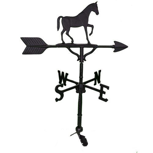 Montague Metal Products Wetterfahne mit schwarzem, satiniertem Pferd, 81 cm