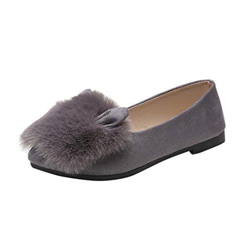 Longra Donne piede rotondo di punta di pelo faux fur pelliccia orecchie scarpe piatta scarpe nude Grigio