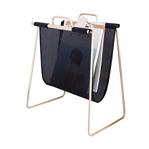 Porte-revues Simple Nordique Étagère Simple en Métal en Métal Étage Salon Chambre Porte-journaux Portable (Color : Black, Size : 40 * 25 * 49cm)