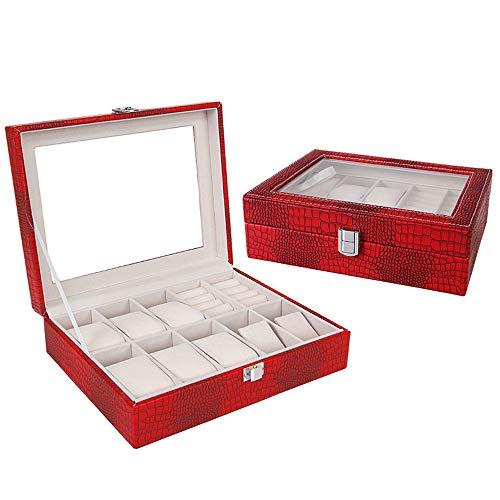WOOLIY Crocodile boîte à Bijoux/Mode Hommes boîte de Montre/Creative Voyage boîte à Bijoux Portable/Stud Boucles d'oreilles boîte de Rangement,Red