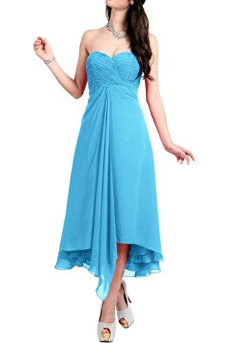La_mia Braut Damen Orange Chiffon Cocktailkleider Abendkleider Partykleider Wadenlang A-linie Kurzkleider Blau
