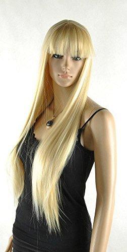 Kalyss 26 Zoll weibliche lange gerade hochwertige synthetische blonde volle Haar Perücke mit Pony -
