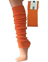 Orange Stulpen gerippt gestrickt