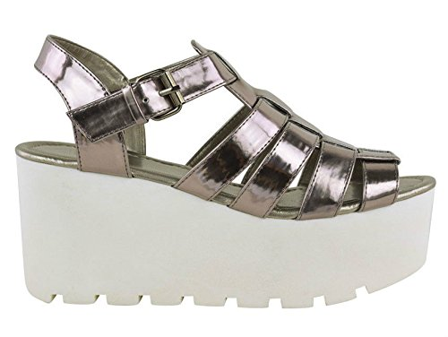 Mesdames Femmes Wedge gladiateur Chunky plate-forme Strappy Sandales Flatform Chaussures Taille PEWTER CHROME FLATFORM
