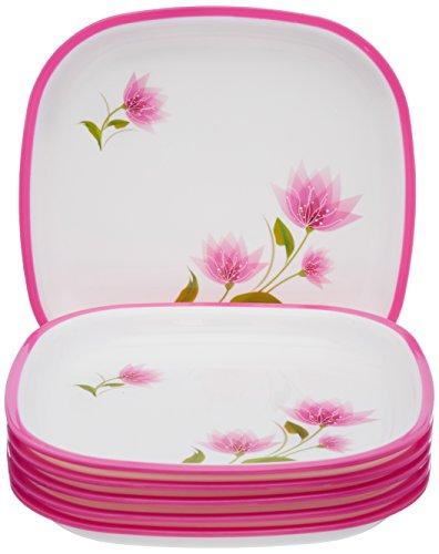 Nayasa Dlx M.F. Square Quarter Plate Set, Set of 6, Pink