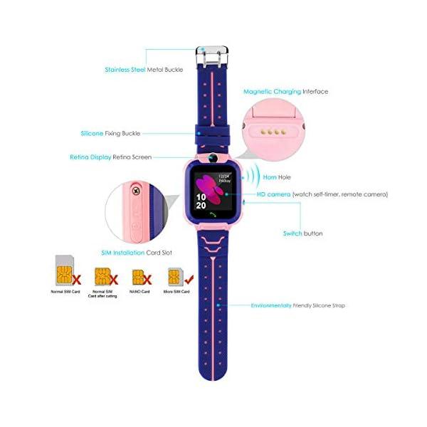 Localizador GPS Niños, Reloj GPS Niños Localizador Con SOS Anti-Lost Alarm Para Tarjeta Pantalla Táctil Smartwatch Para… 8